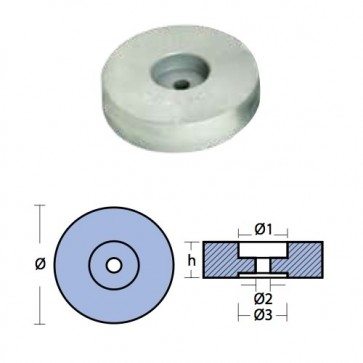 Tecnoseal Anodo in Zinco a Flangia per Poppa - Ø Diametro 125mm - H Altezza 38mm - 00140