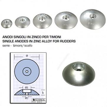 Tecnoseal Anodo Singolo in Zinco a Flangia per Timoni - Ø Diametro 125mm - 00104